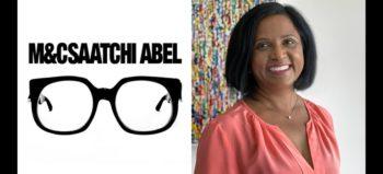 M&C Saatchi Abel logo and Karen Naidoo