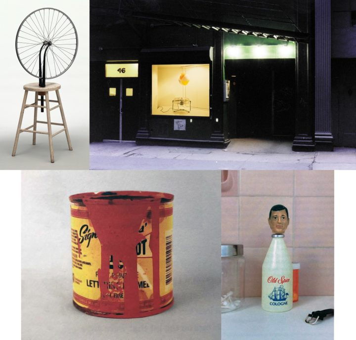 Marcel Duchamp's Bicycle Wheel; Soho Rep window display; Paul Sahre's Sign Paint Tin; and Paul Sahre's Old Spice GI Joe