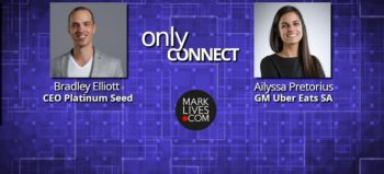 MarkLives Only Connect Podcast Brad Elliott and Ailyssa Pretorius with branding