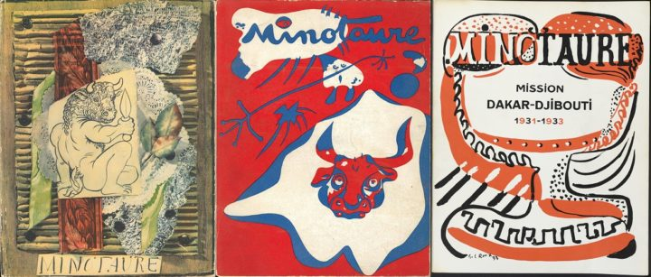 Minotaure vol 1 issue 1 Picasso 1933, issue 9 Miro 1935 and vol 1 issue 2 Gaston Louis Roux 1933