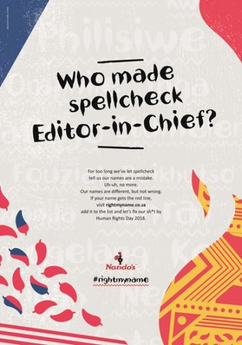 Nando's Sunday Times ad #rightmyname
