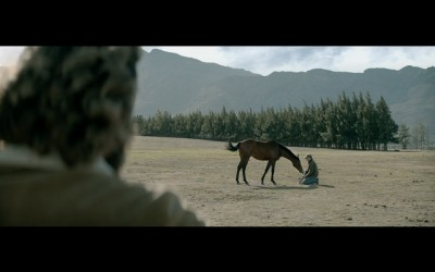 """Nedbank """"Reins"""" TVC screengrab: filly meeting the horse whisperer"""