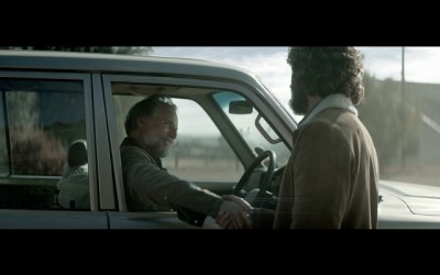 "Nedbank ""Reins"" TVC screengrab: owner greeting the horse whisperer"