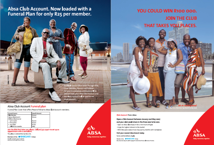 O'Brian Absa Club Account ads