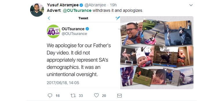 OUTsurance tweet from Yusuf Abramjee