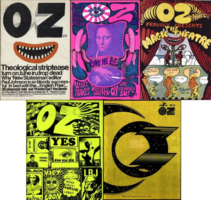 OZ London, L-R, issue 1 & issue 3, issue 16 1968, issue 11 & 13 1968