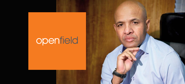 Openfield logo and Happy Ntshingila