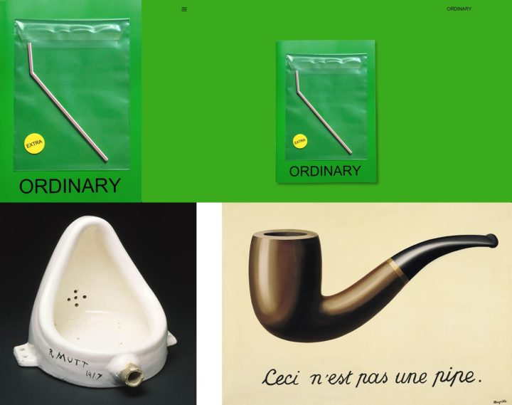 Ordinary Magazine, print and online, issue 7, November 2018 plus Marcel Duchamp Fountain 1917 and Rene Magritte This is not a pipe 1929