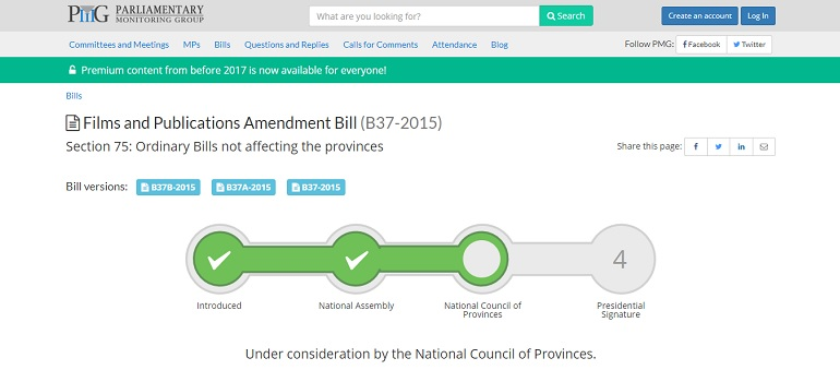 PMG Film and Publications Amendment Bill progress screengrab