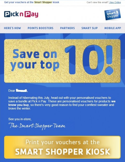 Pick n Pay Smart Shop personalised voucher mailer