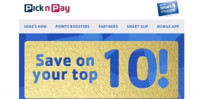 Pick n Pay Smart Shop personalised voucher mailer slider