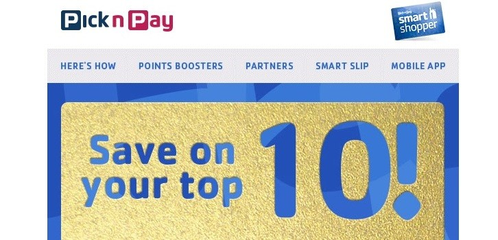Pick n Pay Smart Shop personalised voucher mailer slider