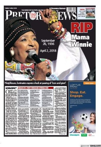 Pretoria News, 3 April 2018 - Winnie Madikizela-Mandela