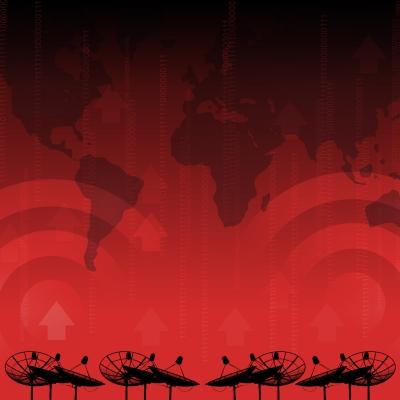 Red alert satellite dish transmission data on red background by 2nix courtesy of FreeDigitalPhotos.net