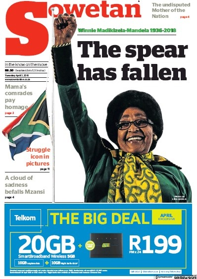 Sowetan, 3 April 2018 - Winnie Madikizela-Mandela