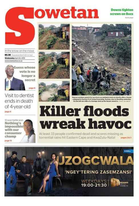 Sowetan front page, 24 April 2019