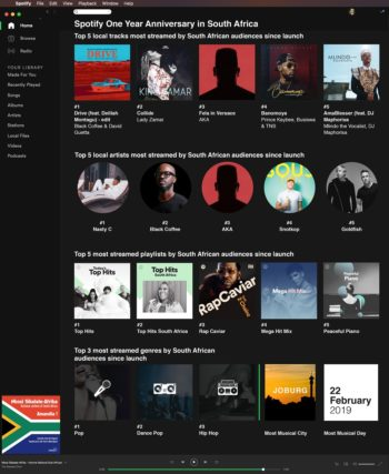 Spotify South Africa one-year anniversary