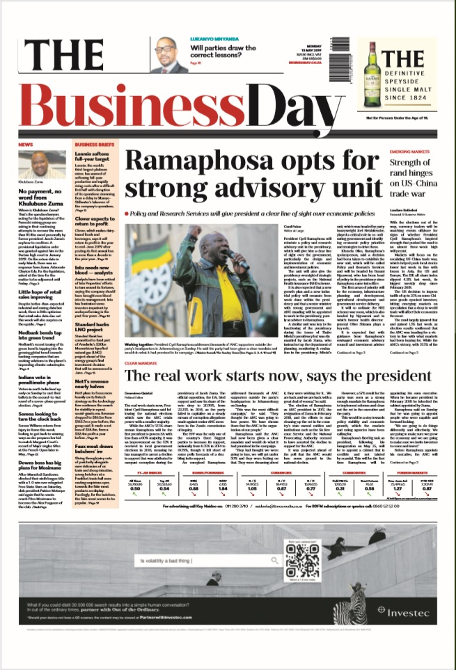 THE Business Day, 13 May 2019