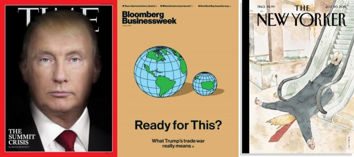 TIME 30 July 2018, Bloomberg Businessweek 23 July 2018, and The New Yorker 30 July 2018 - Donald Trump & Vladimir Putin