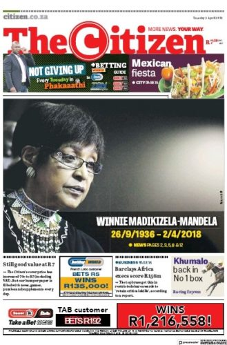 The Citizen, 3 April 2018 - Winnie Madikizela-Mandela