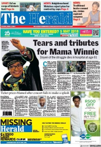 The Herald, 3 April 2018 - Winnie Madikizela-Mandela