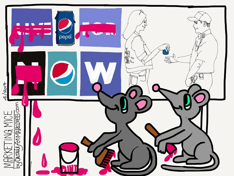 The Marketing Mice 2017 04 12 Pepsi and Kendall Jenner - cartoon