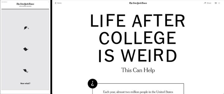 The New Yorks Times, print & online, Life After College, 5 October 2018