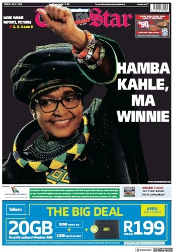The Star, 3 April 2018 - Winnie Madikizela-Mandela
