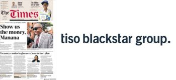 The Times front page and Tiso Blackstar logo