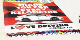 Toyota Corolla beaded love letter