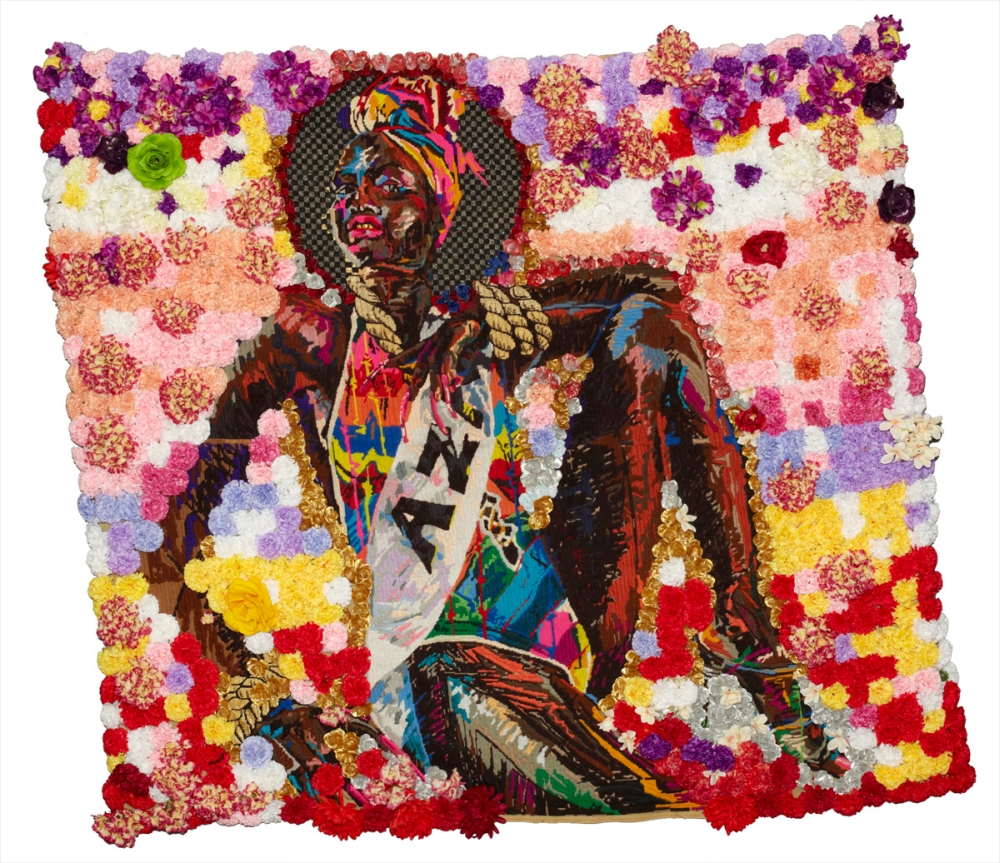 Uzuko. 2013 Wool, Thread and Artificial Flowers on Tapestry Canvas. 200 x 180 cm