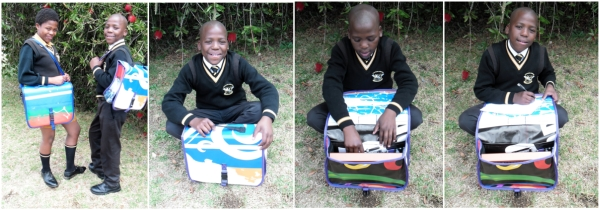 Victor Buthelezi and Nelisiwe Nhlapo demonstrating the DeskBags