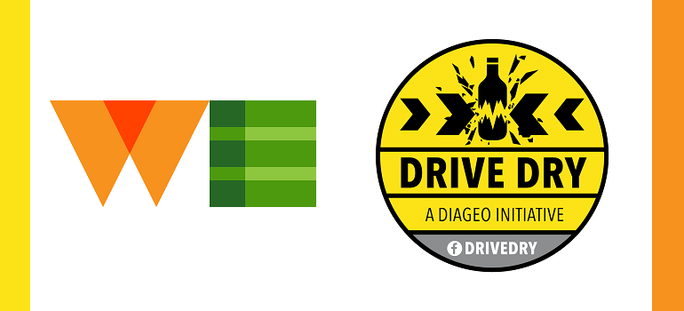 WE Communications logo and Diageo Drive Dry logo