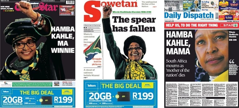 Winnie Madikizela-Mandela front pages slider 2