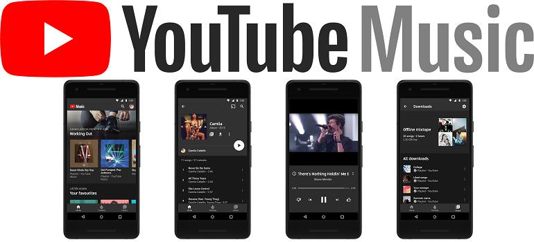 YouTube Music logo and screen shots slider