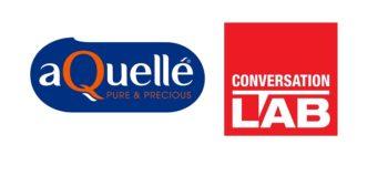 aQuelle water logo and Conversation LAB logo