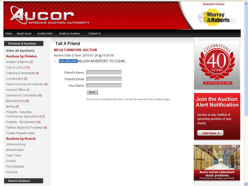 aucor auction page