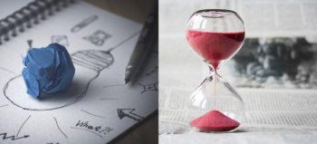 creativity-idea-inspiration and hourglass-tine-hours-clock both courtesy of Pixabay
