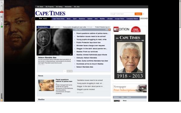 fullscreen Madiba Cape Times