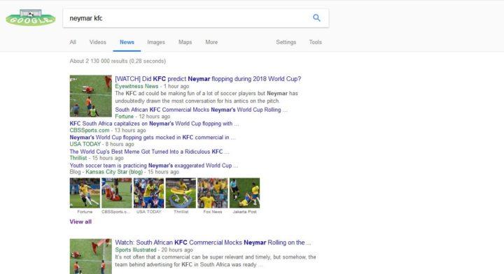 Google Search results: Neymar KFC