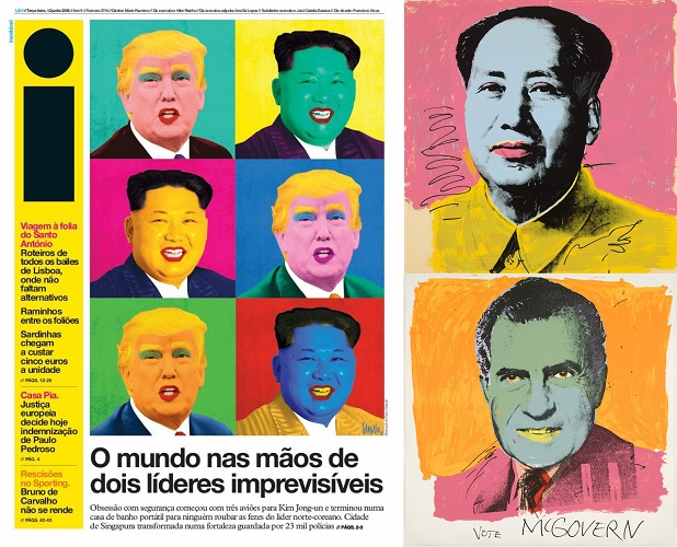 i Newspaper, 12 June 2018, and Andy Warhol 1972 - Mao and McGovern