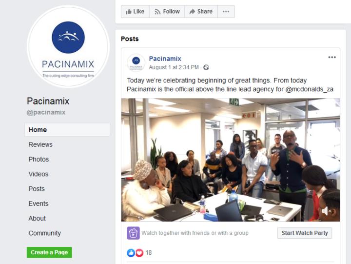 Pacinamix Facebook screengrab: McDonald's announcement