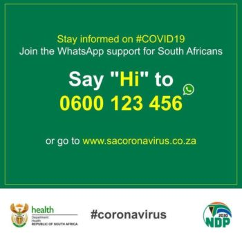 sacoronavirus WhatsApp support graphic