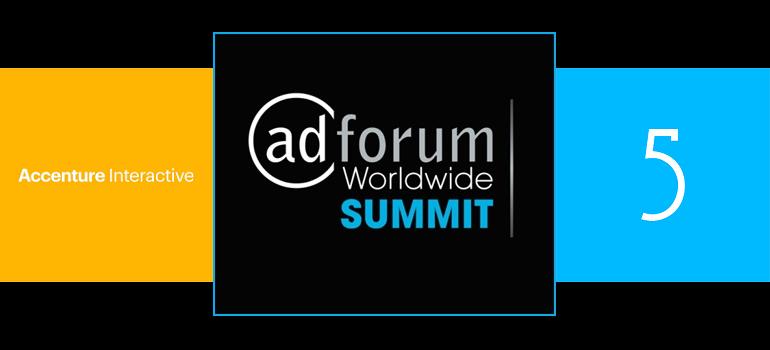 Accenture Interactive logo AdForum Summit logo and Droga5 logo slider