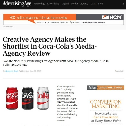 """Media Redefined: """"Creative agency makes the shortlist in Coca-Cola's"""