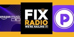 Amazon Music HD, Fix Radio and Podcoin slider