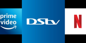 Amazon Prime logo, DStv logo and Netflix logo