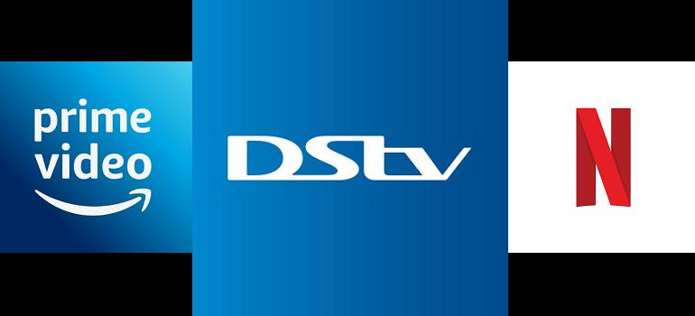 Amazon Prime logo, DStv logo and Netflix logo