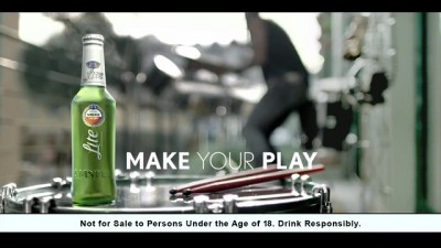 """Amstel Lite TVC: """"Make Your Play"""" The Drummer end screengrab"""