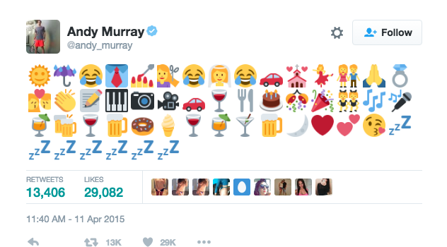 Andy Murrary's wedding tweet